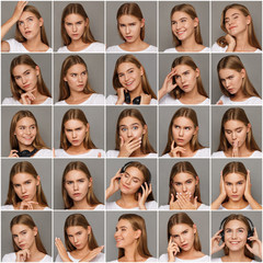 Female different emotions set
