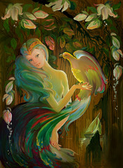 Etude of the Garden of Eden. Portrait of beautiful girl in the environment of fantastic landscape. Oil painting on wood.