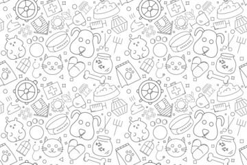 Vector pet pattern. Pet seamless background Fotomurales