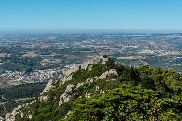 View over Castelo dos Mouros from Palacio de Pena in the outskirts of Sintra in Portugal