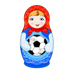 Russian toy - nesting doll, matryoshka with a ball in hands, football theme.