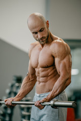 Shredded shirtless tough bodybuilder with beard and shaved head doing biceps curls with barbell in a gym. Fit man trains.