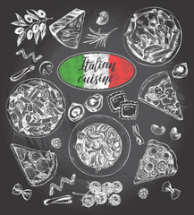 Pasta dishes, pieces of pizza, ingredients of Italian cuisine. Set for the concept of menu design. Ink hand drawn food elements collection with brush calligraphy style lettering. Vector illustration.