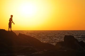 Sonnenuntergang, Strand Las Penitas bei Poneloya, Leon, Pazifik, Nicaragua, Zentralamerika, Mittelamerika