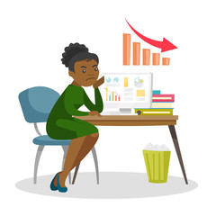 Desperate african-american business woman sitting at workplace with laptop computer with charts going down on a screen. Business fail concept. Vector cartoon illustration isolated on white background.