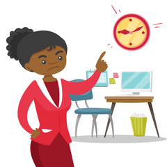 Angry african-american employer pointing to time on the clock. Employer checking the time of coming to work employee. Concept of late to work. Vector cartoon illustration isolated on white background.