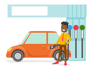 Young african-american businessman in suit filling up fuel into the car at the gas station. Cheerful man refueling a car. Vector cartoon illustration isolated on white background.
