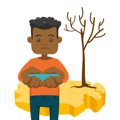 African-american man holding water in hands on the background of dry earth and tree. Concept of drought, climate change and global warming. Vector cartoon illustration isolated on white background.