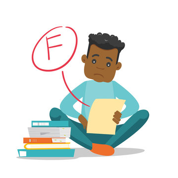 Unhappy african-american student disappointed by test with F grade. Sad student looking at the test paper with bad mark. Education concept. Vector cartoon illustration isolated on white background.