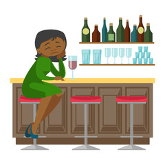 Depressed african-american woman sitting at the bar counter and drinking red wine. Young woman in depression sitting in the bar with wine. Vector cartoon illustration isolated on white background.