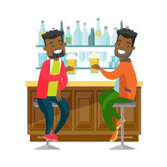 Two young happy african-american men drinking beer at the bar counter and clinking glasses. Cheerful friends relaxing with beer in the pub. Vector cartoon illustration isolated on white background.