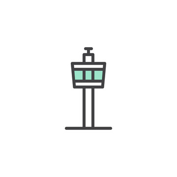 Airport control tower icon vector, linear flat sign, bicolor pictogram, green and gray colors. Air traffic control symbol, logo illustration