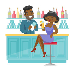 African-american woman sitting at the bar counter and bartender wiping a glass. Young woman relaxing in the bar with a glass of alcohol drink. Vector cartoon illustration isolated on white background.