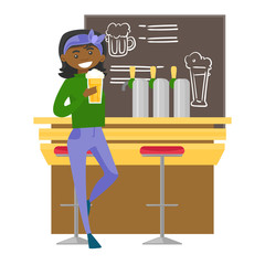 African-american woman sitting at the bar counter and drinking beer. Woman relaxing at the bar with a glass of alcohol drink. Vector cartoon illustration isolated on white background. Square layout.