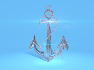 Glass anchor isolated on a blue background