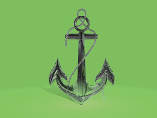 Glass anchor isolated on a violet background