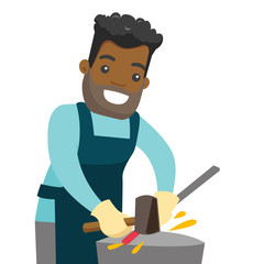 African-american blacksmith working metal with hammer on the anvil in the forge. Young man at work in a smithy. Blacksmith forging the molten metal on anvil. Vector cartoon illustration. Square layout