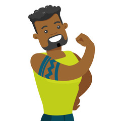 Young african-american bodybuilder sportsman with a tattoo showing biceps. Professional sportsman demonstrating muscular body. Vector cartoon illustration isolated on white background. Square layout.