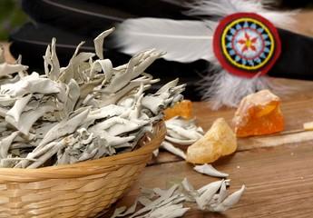 Räucherwerk, weißer Salbei, Räucherfeder