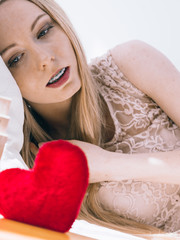 Sad woman on Valentines day