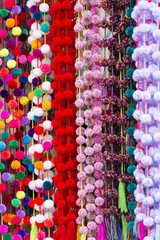 Decorative Pom-Poms As Background Texture
