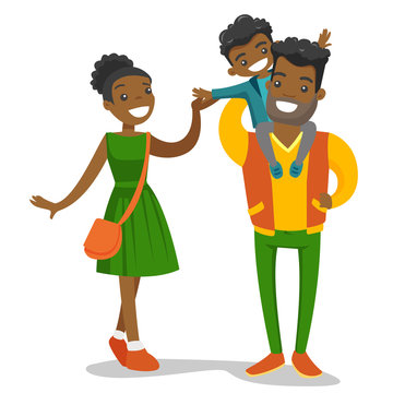 Young happy african-american family of four walking and having fun together. Father carrying his daughter on shoulders during family strolling. Vector cartoon illustration isolated on white background