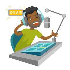 African-american radio host sitting in front of microphone and mixing console. Young man in headset working at the radio studio. Vector cartoon illustration isolated on white background. Square layout