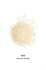 Rice on white background.Grain crop.