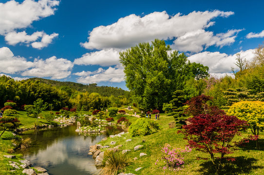 The Japanese garden in the park of Anduze being in the French department of Gard, France, Europe, European, Western Europe