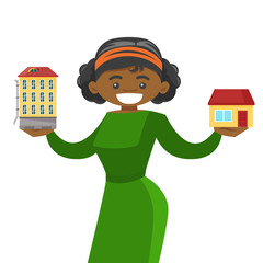 Young african-american woman choosing between town apartment and suburban house. Real estate agent holding house and apartment building. Vector cartoon illustration isolated on white background.