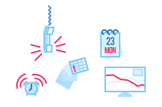 Monday workday in office icons set. Isolated line art style illustration on white background.