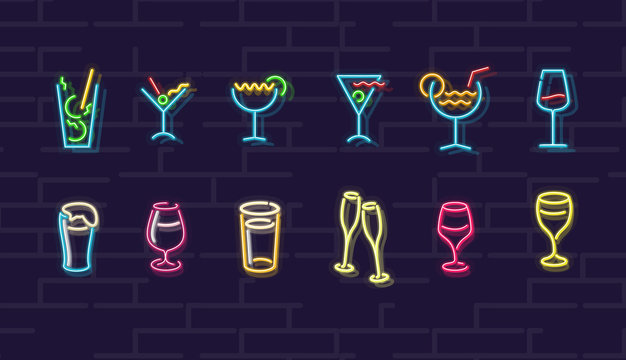 Neon drinks. Cocktails, wine, beer, champagne. Night illuminated wall street sign. Cold alcohol drinks in dark night. Isolated geometric style illustration on brick wall background.