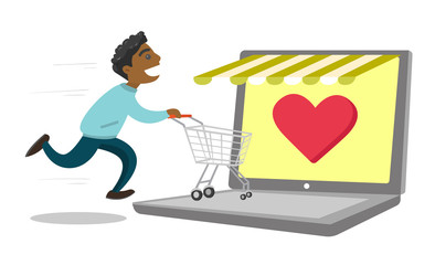 Young african-american man using laptop for online shopping. Happy man running with shopping cart on a laptop computer. Vector cartoon illustration isolated on white background. Horizontal layout.