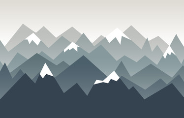 Mountains landscape. Nature background in geometric style. Triangle mountains ridges with snow on the tops.