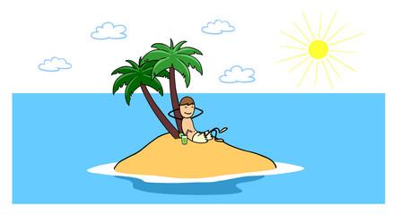 Mann sucht Entspannung auf einsamer Insel