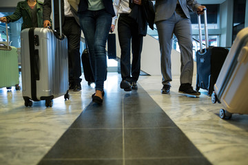 Businesspeople walking with luggage in waiting area
