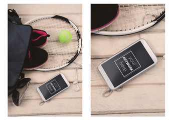 Smartphone and Tennis Accessories Mockup