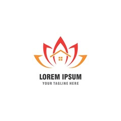 leaf house business logo template
