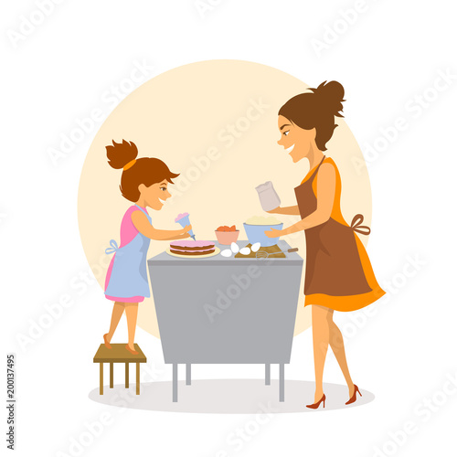Mother And Daughter Baking Together Cakes In The Kitchen At Home Isolated Cute Cartoon Vector Illustration