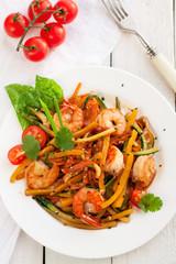 Asian zucchini noodle stir-fry with shrimps