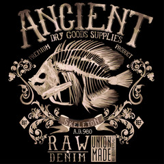 t-shirt graphics,ancient skeleton