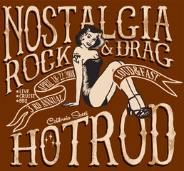 vintage hotrod graphics,nostalgia rock and drag,t-shirt graphics