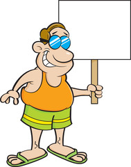 Cartoon illustration of a man in a swimsuit holding a sign.