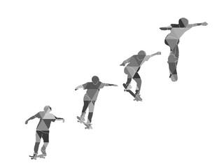 set of geometric skateboarder on white background