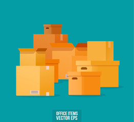 Cardboard boxes of different shapes for moving. Vector illustration in flat style
