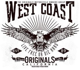 west coast original california,tee graphics,vintage graphics for t-shirt