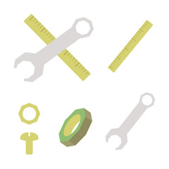 building materials yellow ruler bolts nuts and gray metal wrench vectorized on white background