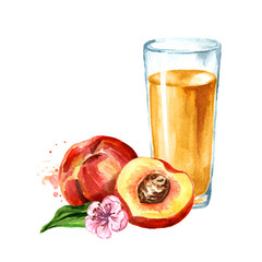Glass of peach juice. Watercolor hand drawn illustration, isolated on white background