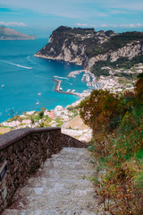 The Phoenician Steps (La Scala Fenicia) of Capri , Italy.