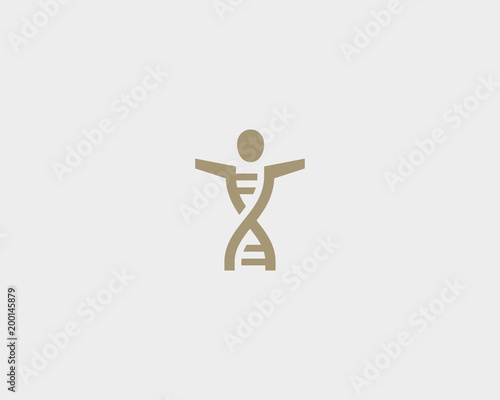Dna People Vector Logo Design Medicine Person Icon Symbol Man